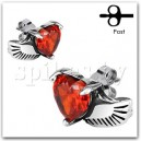 "SSEM-133 Серьги ""Angel Wing with Heart Red Citrine"""